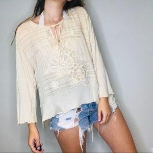Anthro Tiny cream embroidered boho blouse